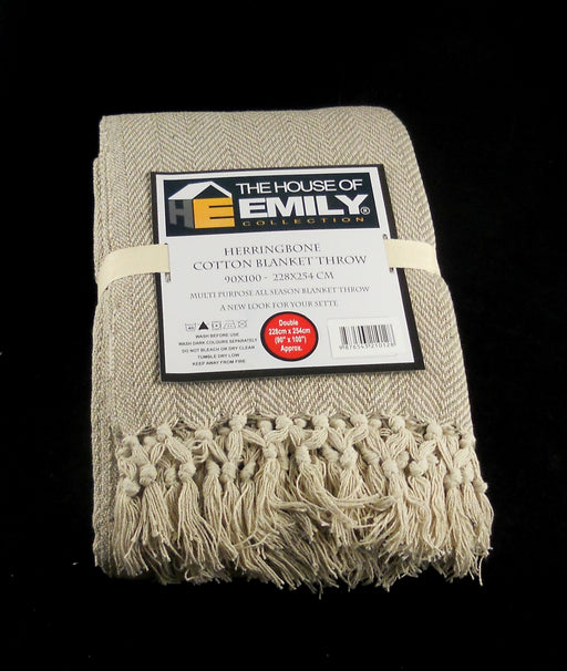 Herringbone Throw Blanket 100% Cotton Natural & Beige