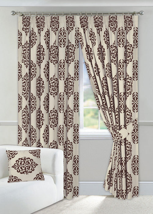 Printed Curtains Pencil Pleated 90 x 90 Inch Fully Lined with Tiebacks