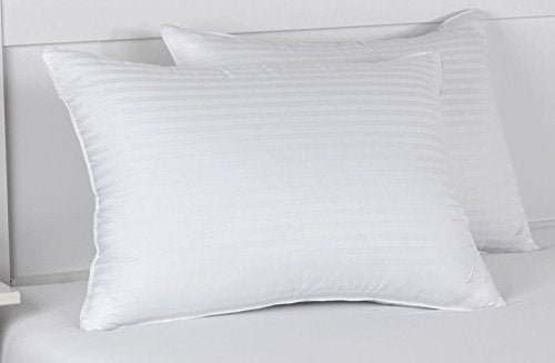 Hotel Quality Pillows Pack of 2 100% Cotton Stripe Cover Hollowfibre Medium / Firm Support