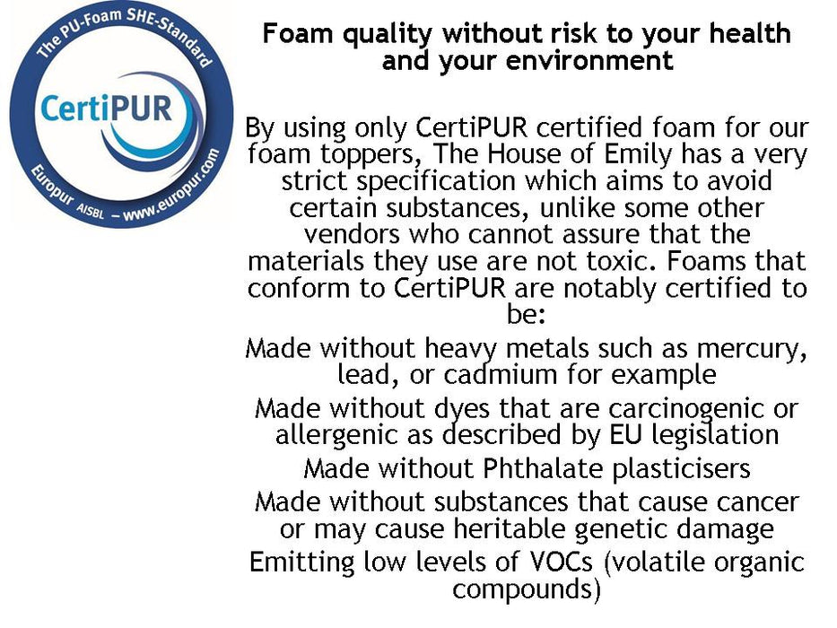 Memory Foam Mattress Topper CertiPUR Certified with Luxury Easy Fit Cover