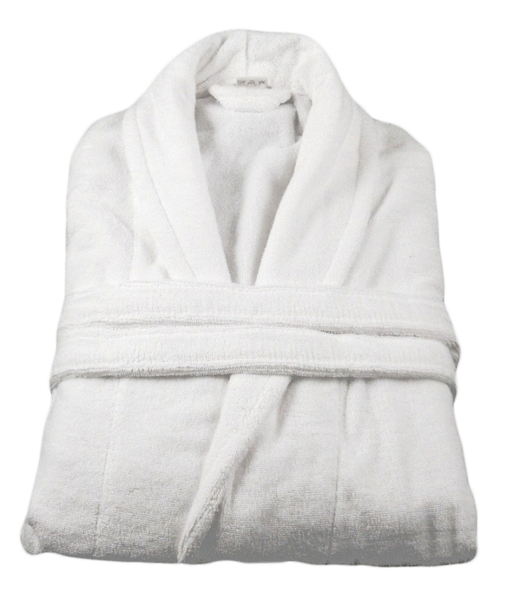 White Bath robe with Velour Outer and Terry Towelling Inner 100% Cotton