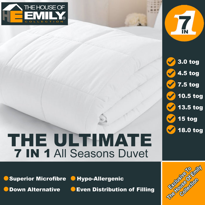Microfibre Duvet Soft as Goose Down Anti Allergenic | 4.5 up to 13.5 Tog | 5 Bed Sizes