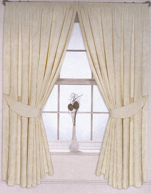 cream pencil pleated jacquard curtains
