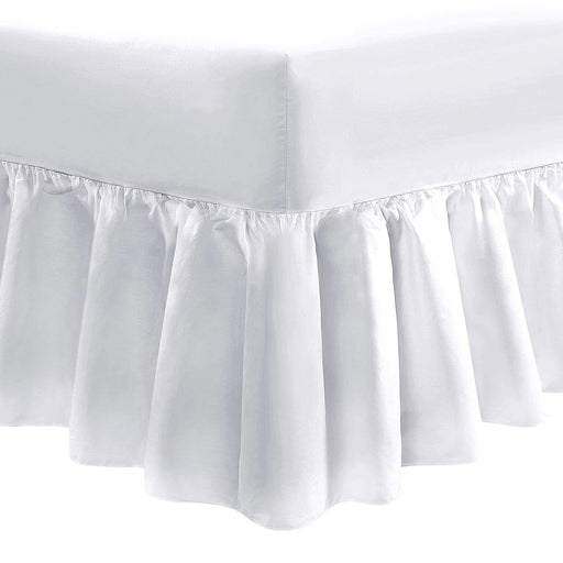 100% Cotton Fitted Frilled Valance Sheet Super King Size White 200 TC