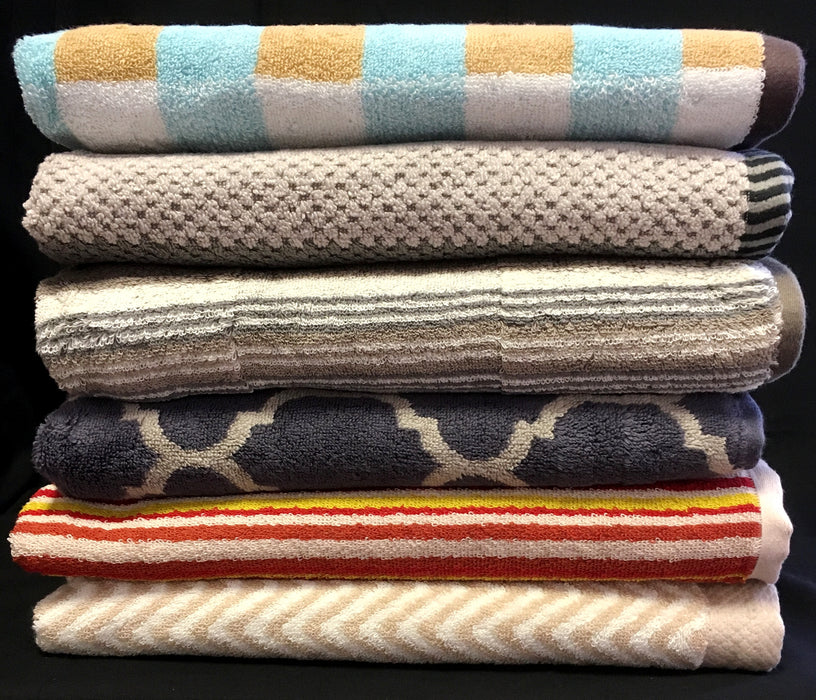 Printed Bath Towels 100% Cotton 500gsm Assorted Colours / Designs Pack of 3