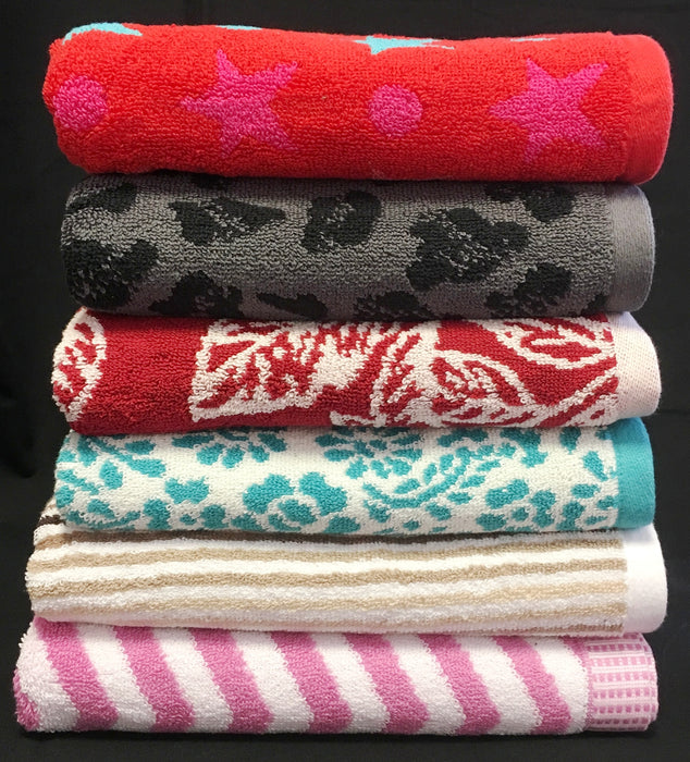 Printed Hand Towels 100% Cotton 500gsm Assorted Colours / Designs Pack of 6