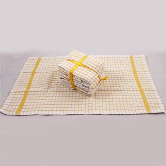 100% Soft Cotton Mini Check Terry Tea Towels Pack of 5 Ribbon Packed