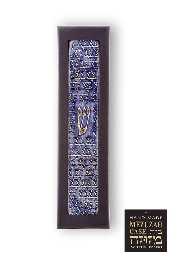 Star of david Mezuzah Cases With 24k Gold Judaica Gift