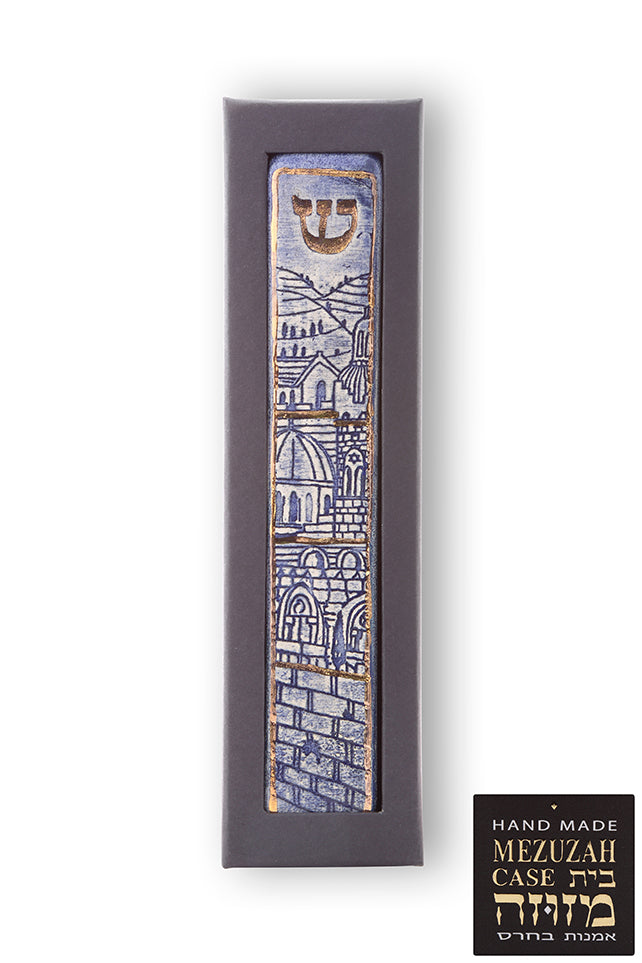 Handmade Ceramic Unique Mezuzah Jerusalem Walls