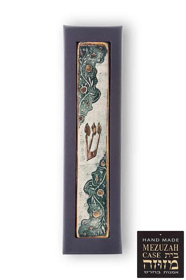 Mezuzah Case Decorated with Gold and Pomegranates