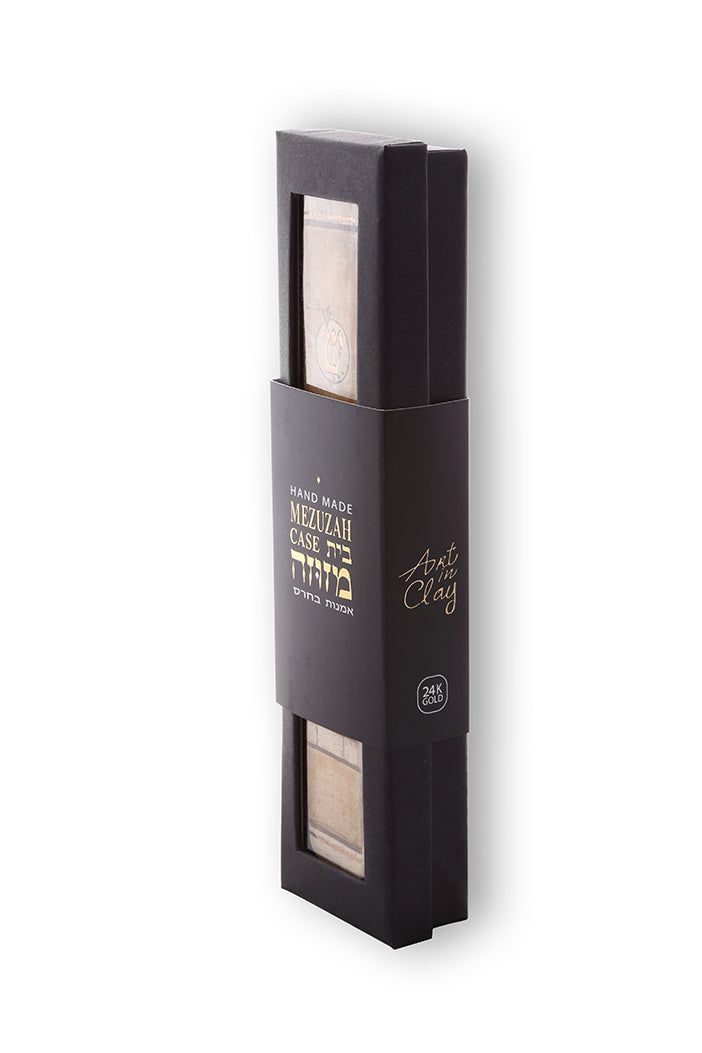 Handmade Mezuzah Case jerusalem Walls Decorated With 24k Gold Judaica Gift