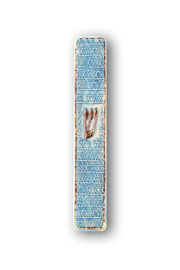 Handmade Mezuzah Case Star of David Decorated With 24 Karat Gold Limited Edition