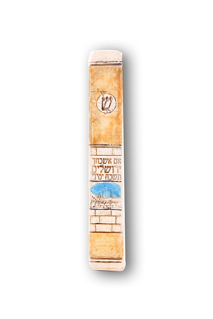 Handmade Mezuzah Case Jerusalem Model Decorated With 24 karat By Studio Art In Clay