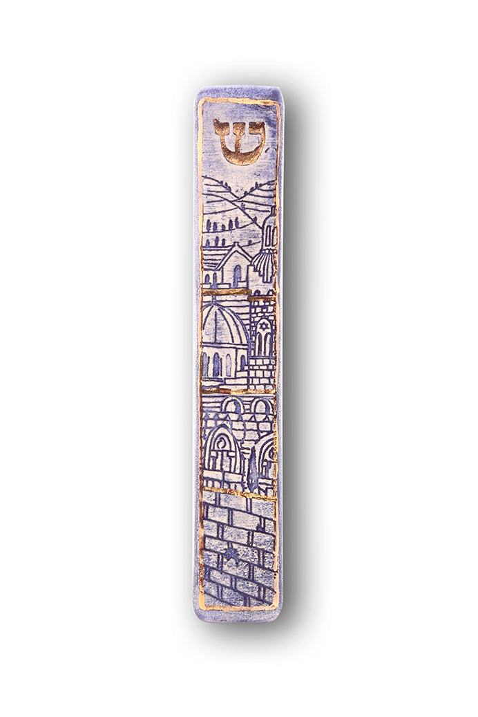 Handmade Mezuzah Case Jerusalem Walls Blue Model