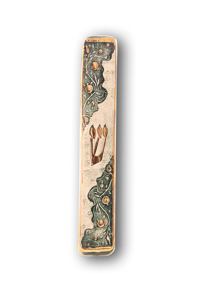 Handmade Mezuzah Case Pomegranate Model Decorated With 24 Karat Gold