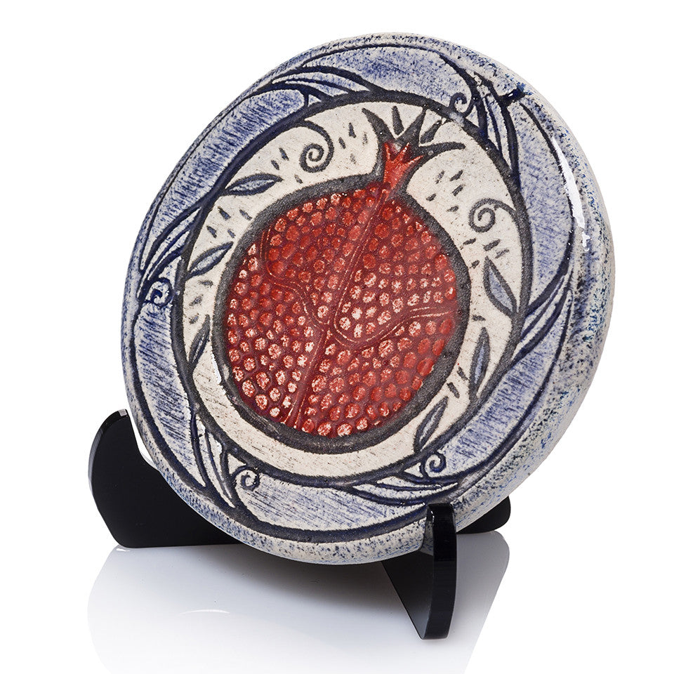 pomegranate handmade The unique technique mixes burnt clay impressions,  glaze and Color create a unique and beautiful piece.