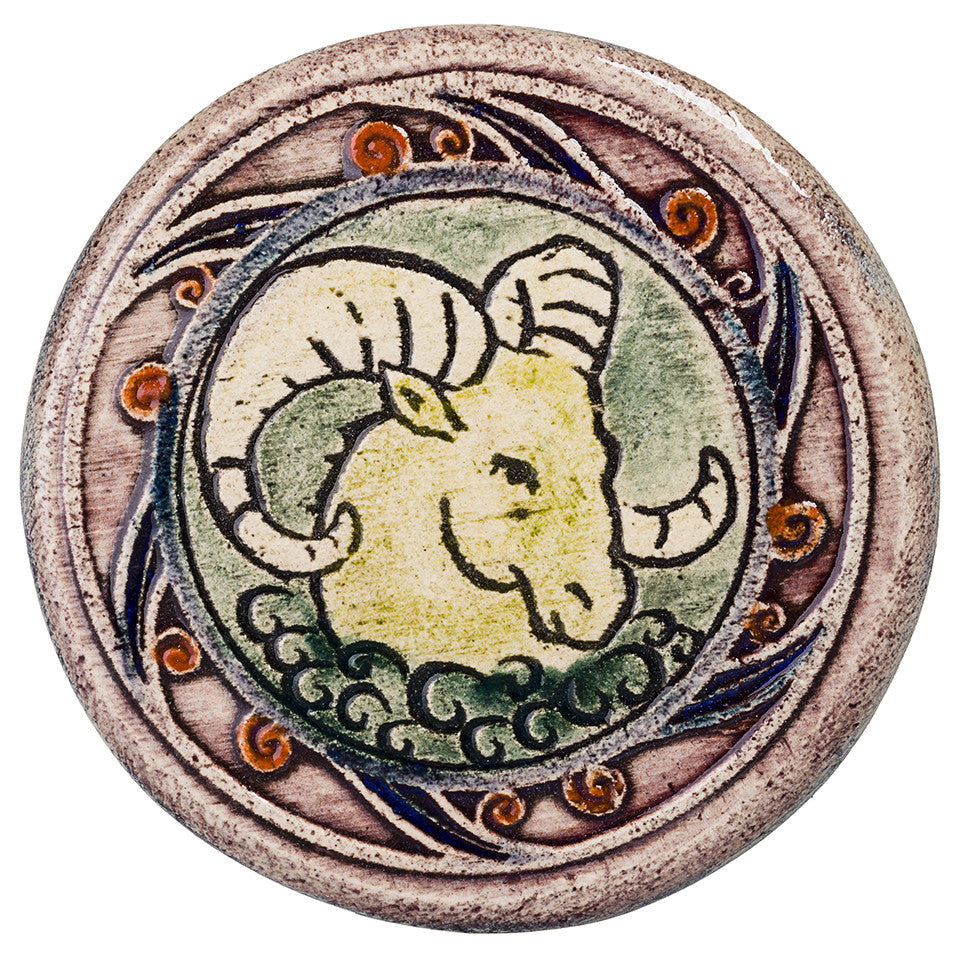 Aries Zodiac Handmade Ceramic Tile