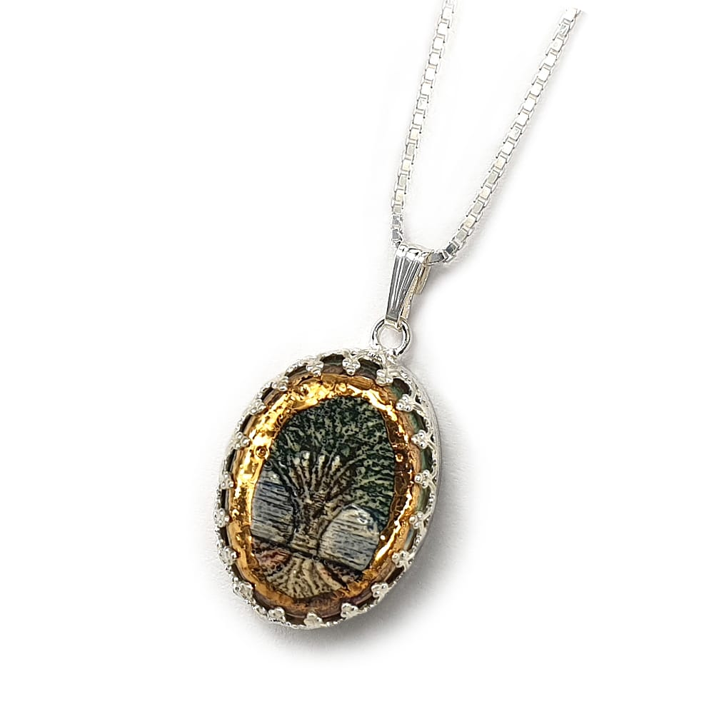 Tree Of LIfe Silver & Ceramic Necklace with Golden Decoration