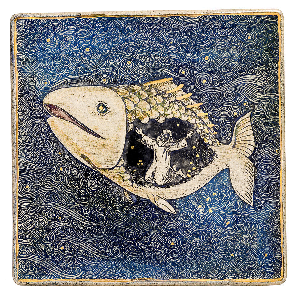 Jonah and the Whale Story BIG Ceramic Plaque Hand Made Decorated With 24k Gold Ornaments Limited Edition