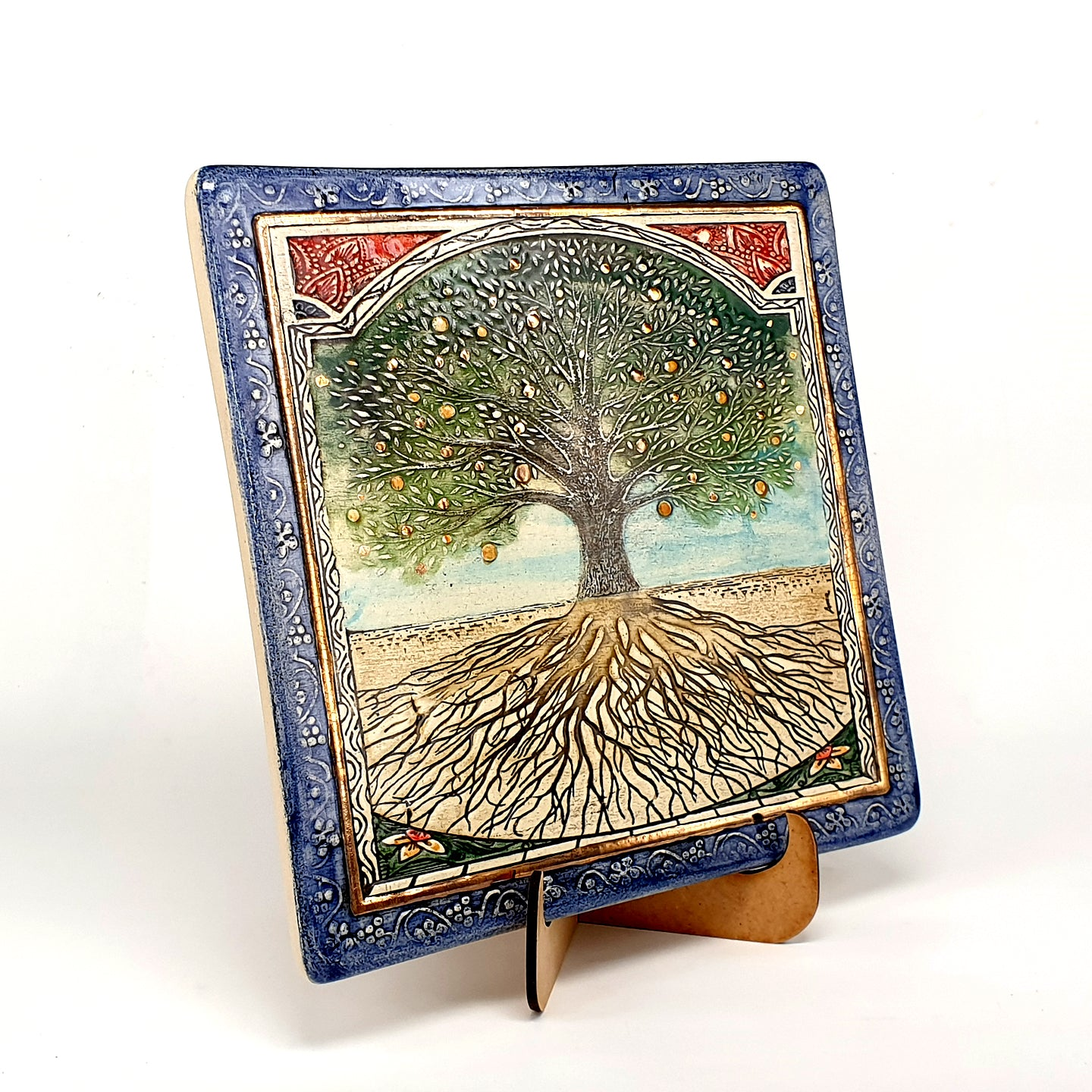Tree Of Life Handmade Ceramic Wall Plaque Decorated With 24 Karat Gold