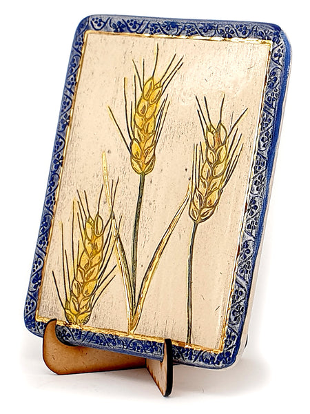 Wheat One of The Seven Species Ceramic Plaque Hand Made Decorated With 24k Gold Ornaments