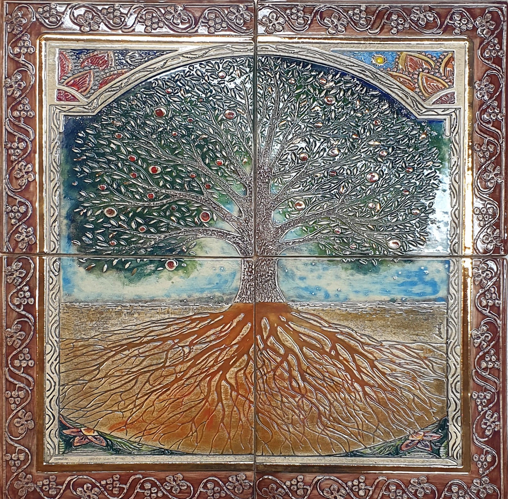 Tree Of Life Hand Made Ceramic Wall Blessing 4 Parts