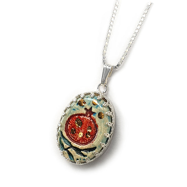 Pomegranate Silver & Ceramic Necklace with Golden Decoration