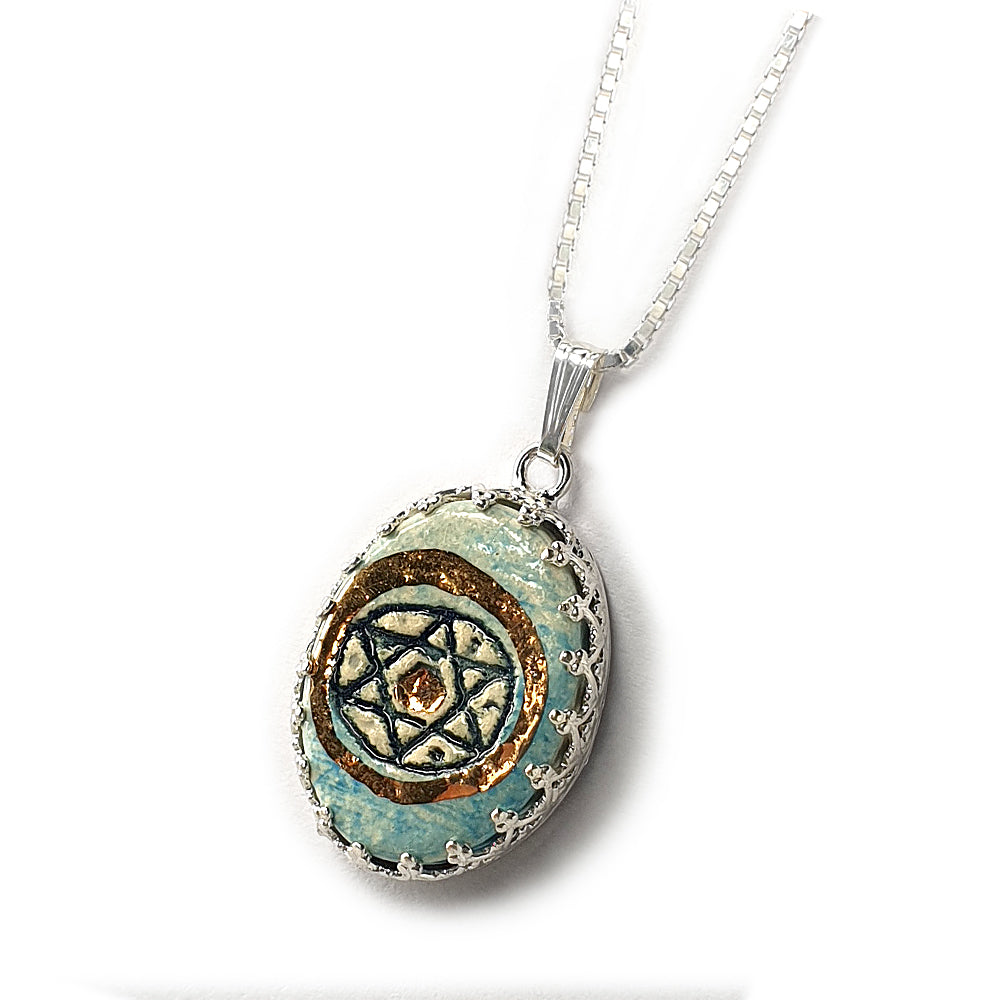 Star Of David Silver & Ceramic Necklace with Golden Decoration