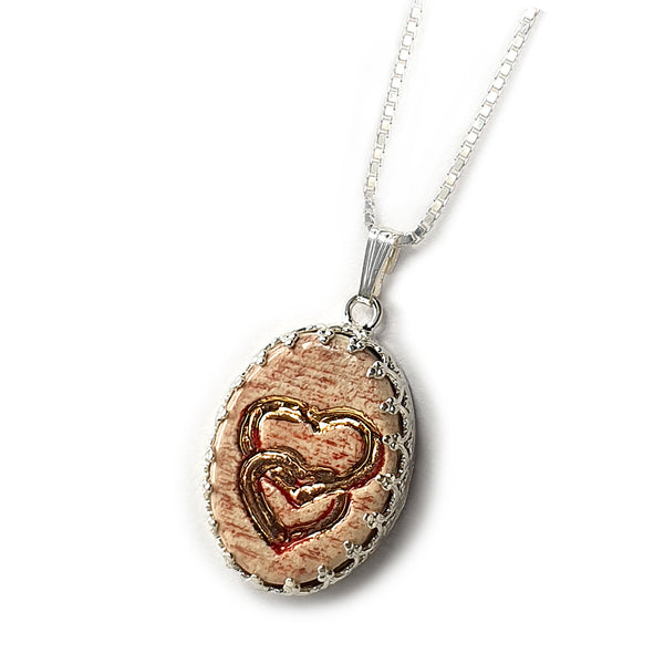 Love Handmade Ceramic Pendant And Silver Necklace