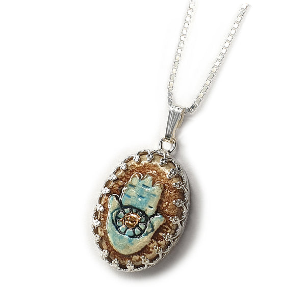 Hamsa Silver & Ceramic Necklace with Golden Decoration
