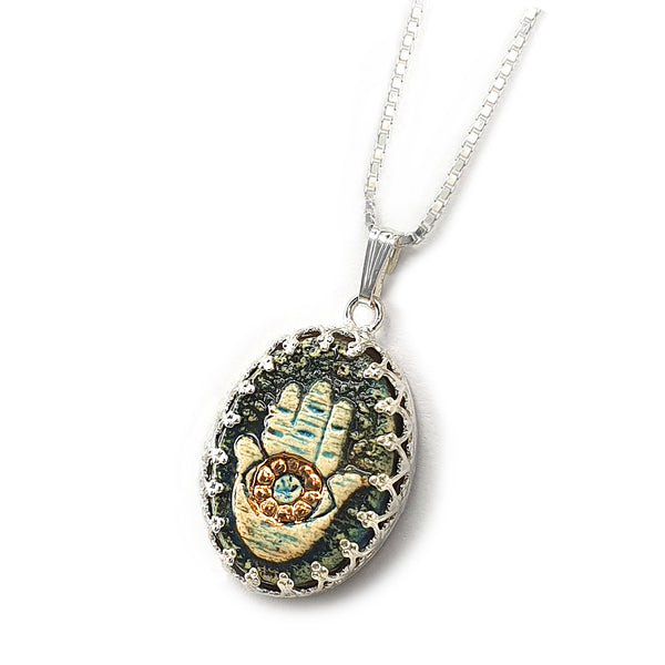 Handmade Hamsa Ceramics Pendant Decorative With 24k Gold