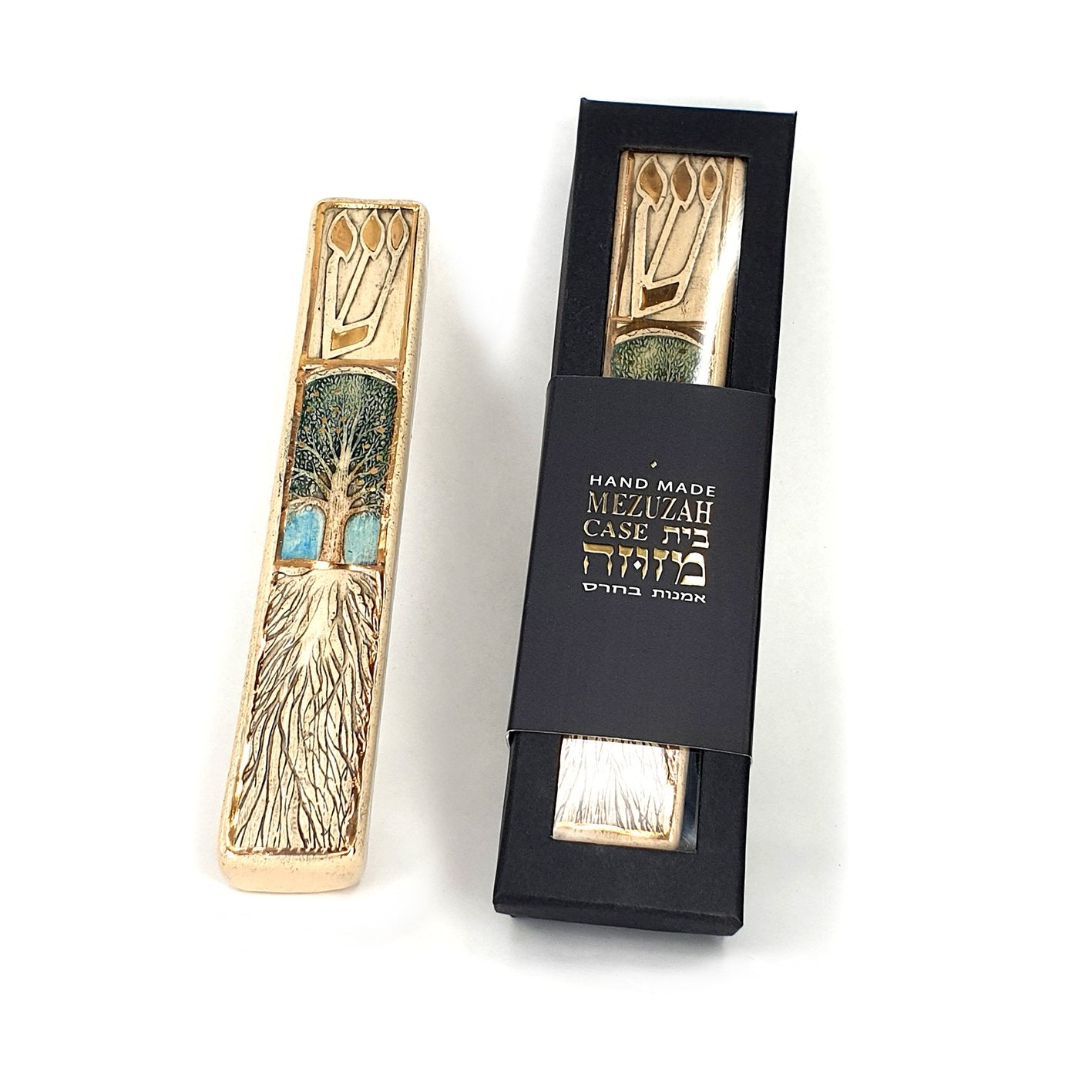 Tree Of Life Handmade Ceramic Mezuzah In a Box Gift
