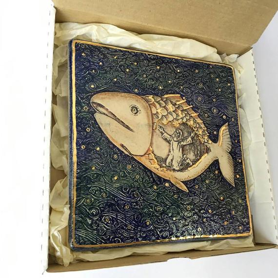 Jonah and the Whale Story ceramic plaque gift box