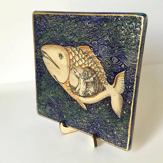 Jonah And The Whale Story Handmade Ceramic Plaque Jewish Gift