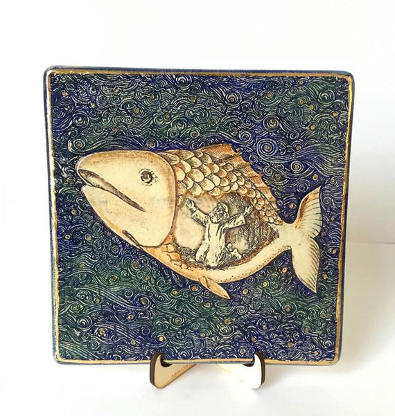 Handmade Jonah and the Whale Story BIG  Ceramic Plaque