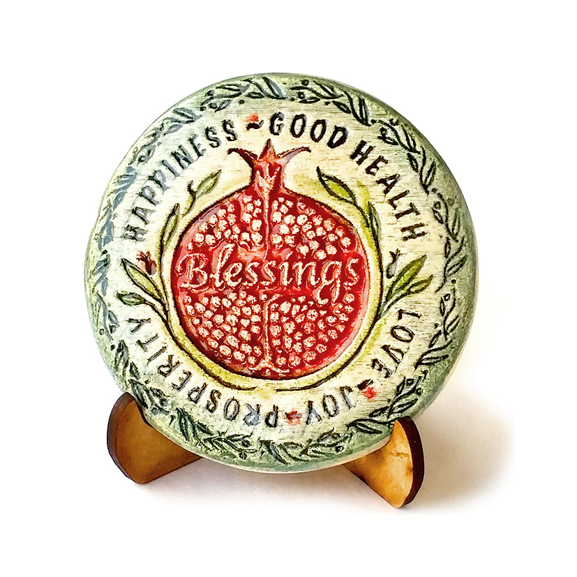 Rosh hashana Gift Pomegranate ( Rimon ) Handmade Wall Plaque and Small Tile