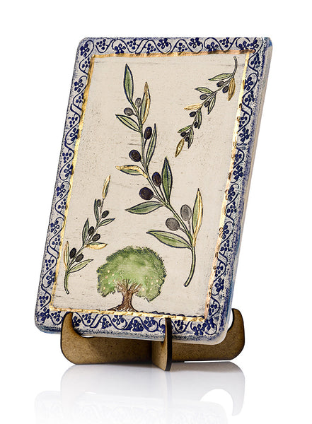 handmade plaque The olive tree has been cultivated for olive oil, fine wood, olive leaves and its fruit. The olive is native to the Mediterranean region, and is a symbol of the seven kinds of crops in the Land of Israel.