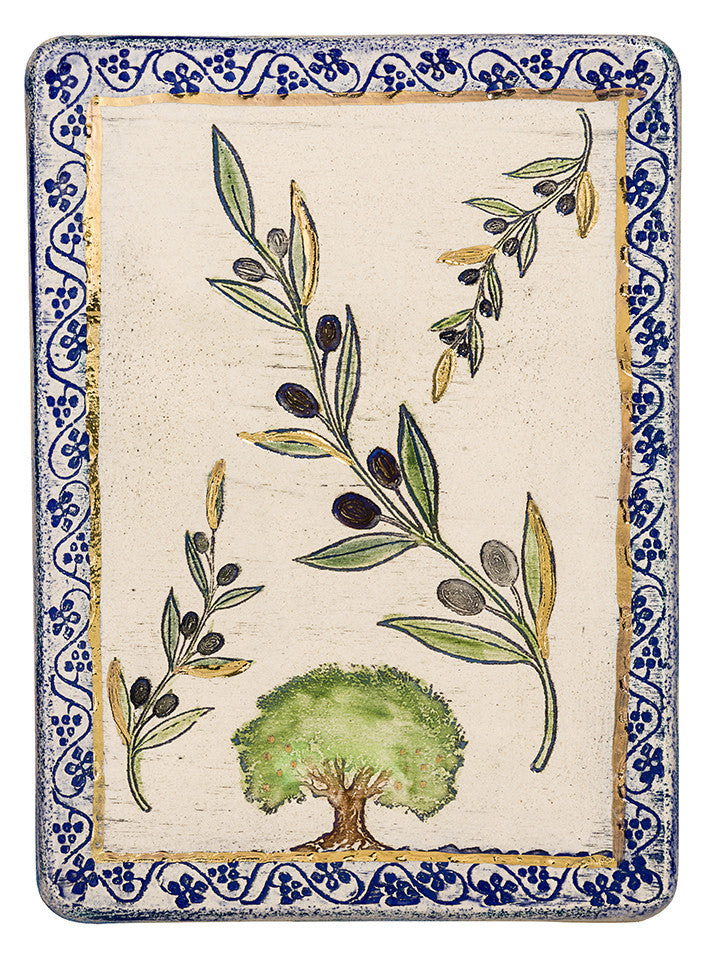 Olive One of The Seven Species Ceramic Plaque Hand Made Decorated With 24k Gold Ornaments