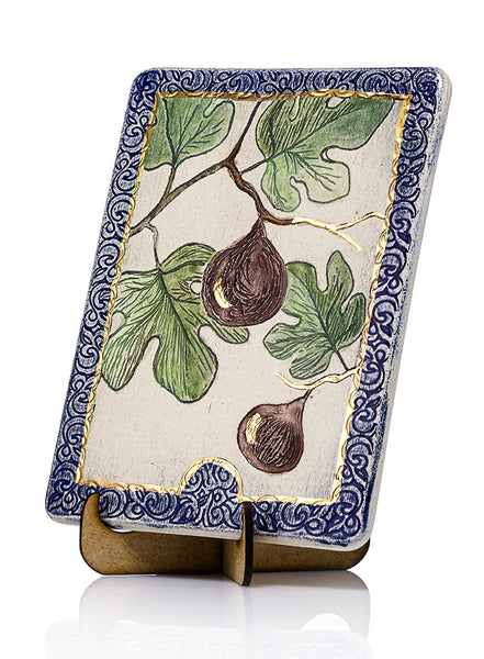 Figs Ceramic Plaque HandMade Decorated With 24k Gold Ornaments