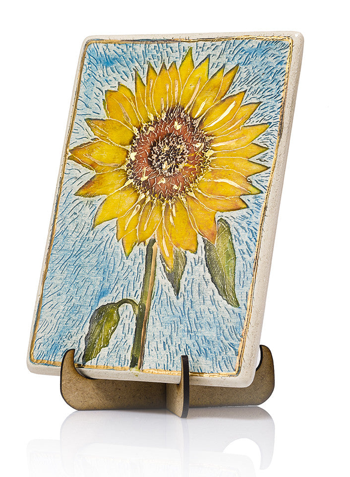 Sunflower Ceramic Plaque Hand Made Decorated With 24k Gold Ornaments amazing gift