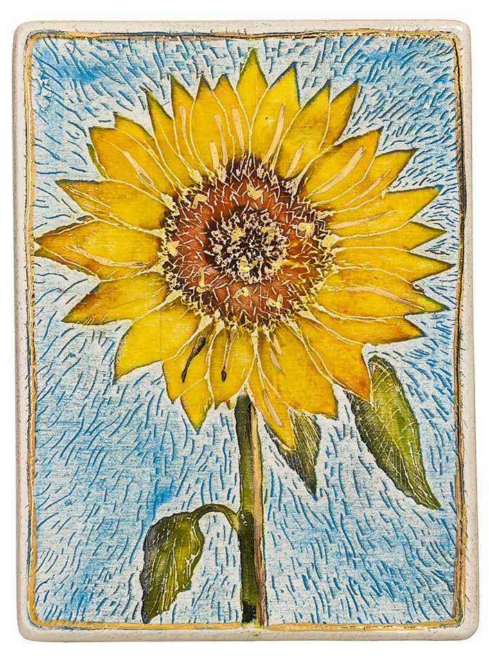 The Helianthus annuus, known as the Sunflower ceramic handmade tile