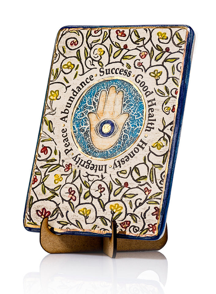 Hamsa Flowers Ceramic Plaque Hand Made Decorated With 24k Gold Ornaments