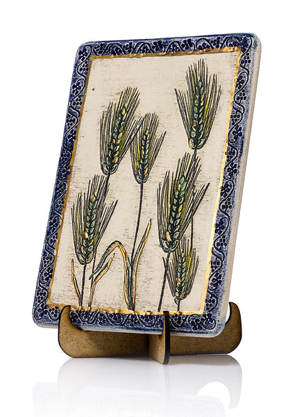 Barley Ceramic Plaque Hand Made Decorated With 24k Gold Ornaments