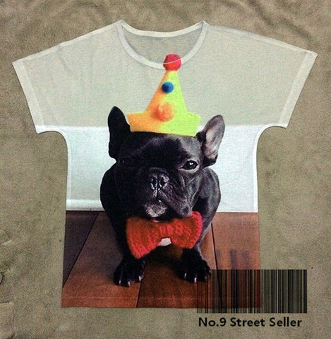 Black French Bulldog Cute Yellow Clown Hat Red Tie