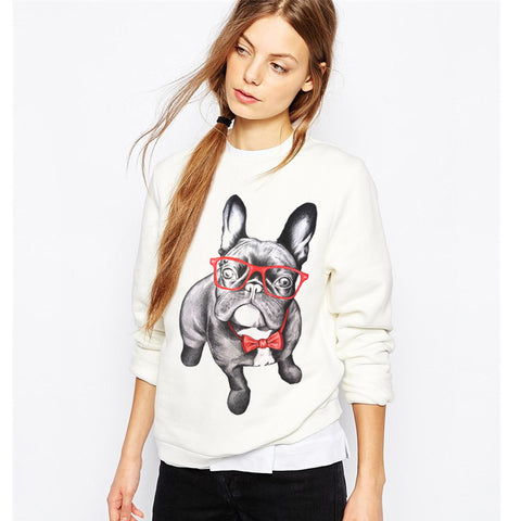 French Bulldog Cartoon Print White Long Sleeve Sweatshirt
