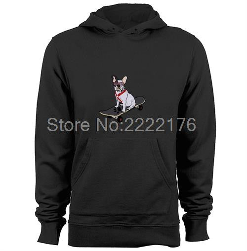 French Bulldog Skateboarding Pull over Hoodie