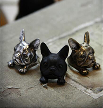 3D Retro Big Head French Bulldog Ring