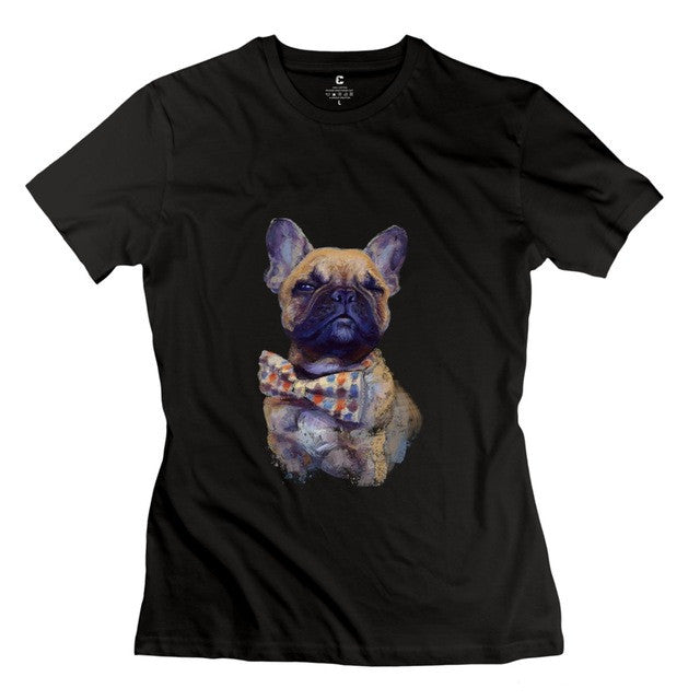 Cute French Bulldog In Bowtie Womens T-Shirt
