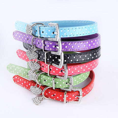 Polka Dot Pattern Dog Collar With Heart Crystal Pendant