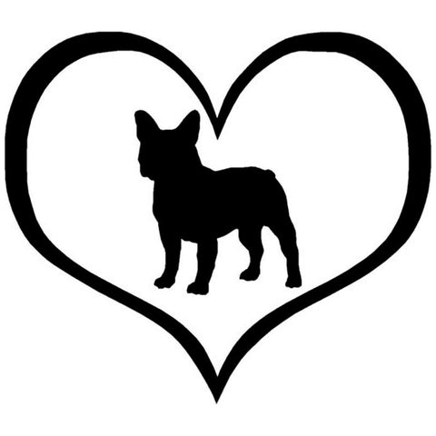 French Bulldog Silhouette In Heart Vinyl Sticker